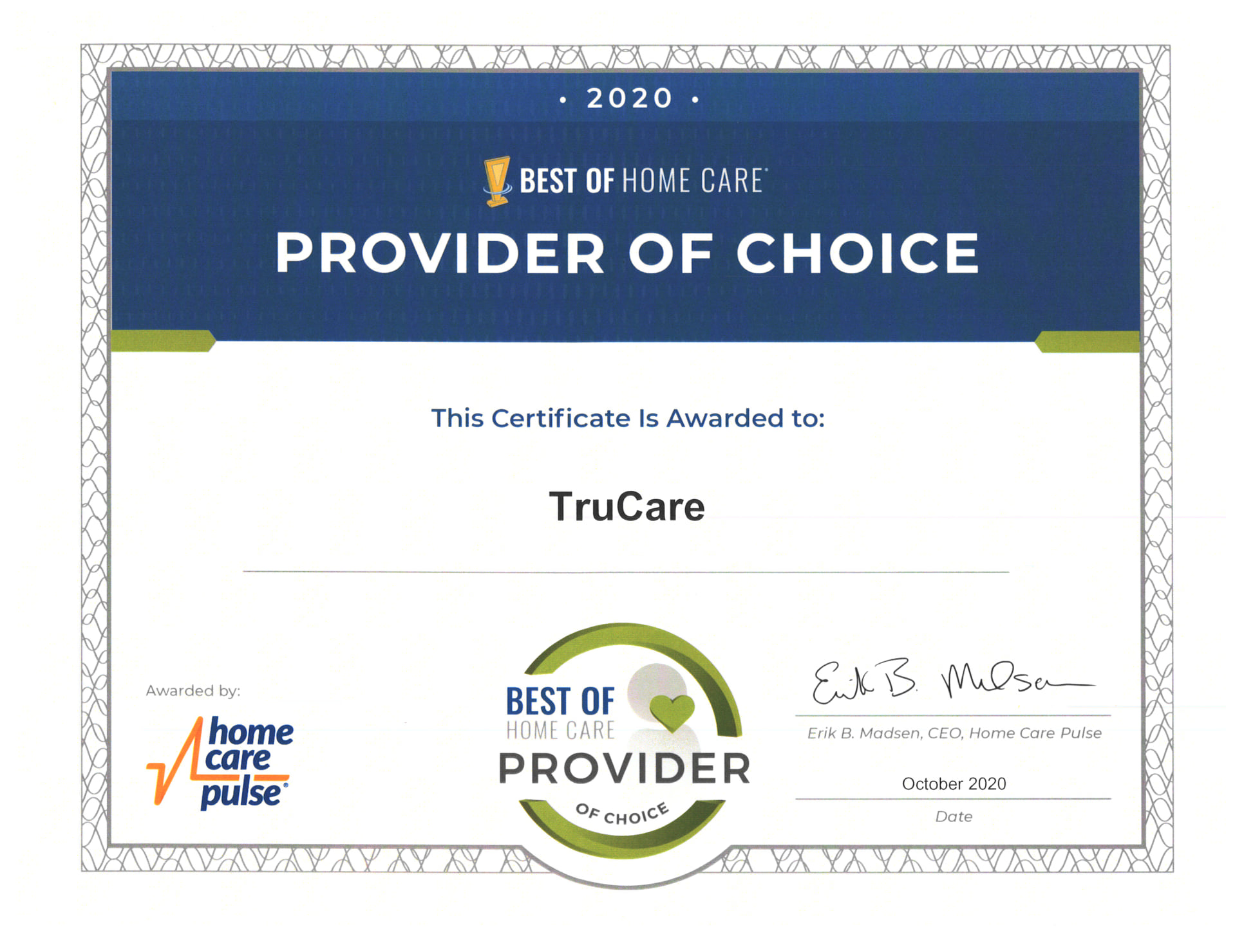 Provider of Choice award for 2020